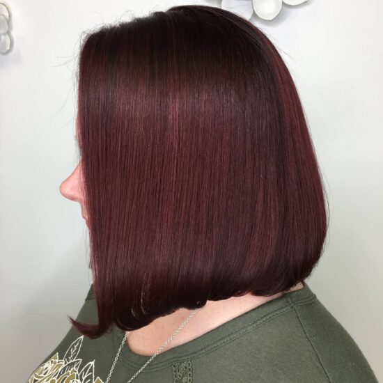 burgundy holiday hair coloring and ladies haircut and color salon