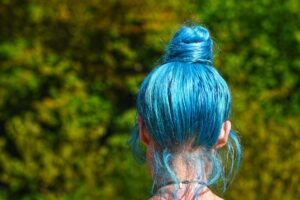 bright blue hair coloring