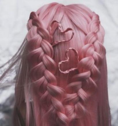 valentines day hair with braids