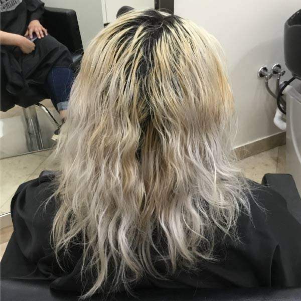 before womans haircut and highlights