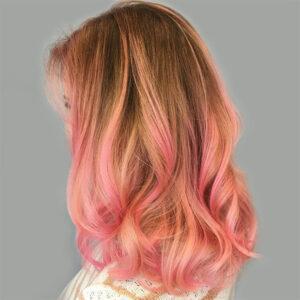 pink and blonde balayage highlights woman plano texas