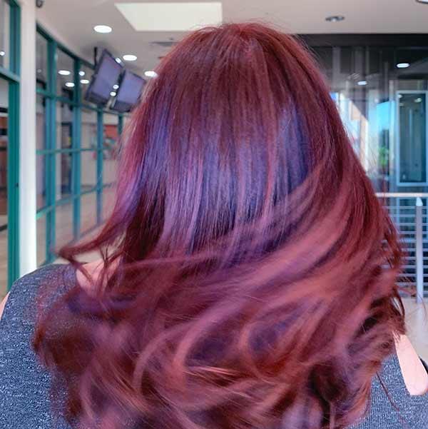 magenta long hairstyle coloring