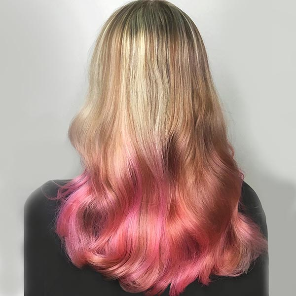 pink dipped ends blonde balayage womans hairstyle in addison allen richardson frisco plano texas