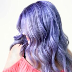 lilac hair coloring on woman with shadow rooting in frisco the colony texas