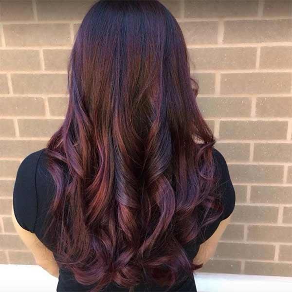 long hairstyle burgundy brunette