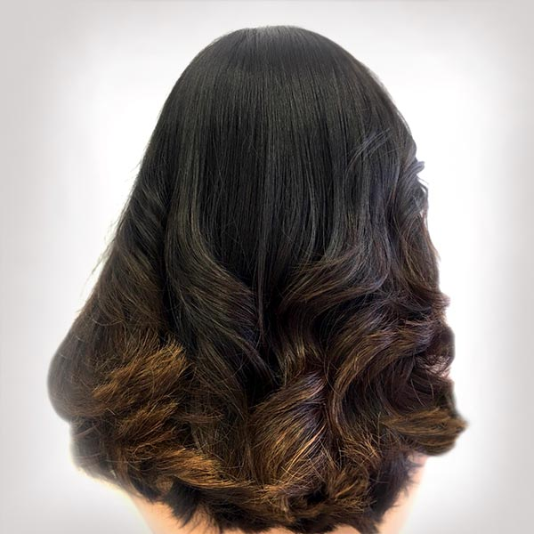 ombre hair coloring woman stylist plano