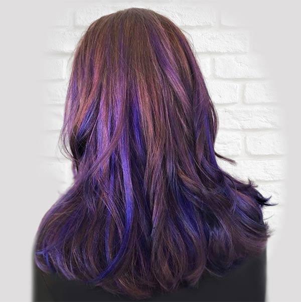 purple balayage hair coloring womans salon plano