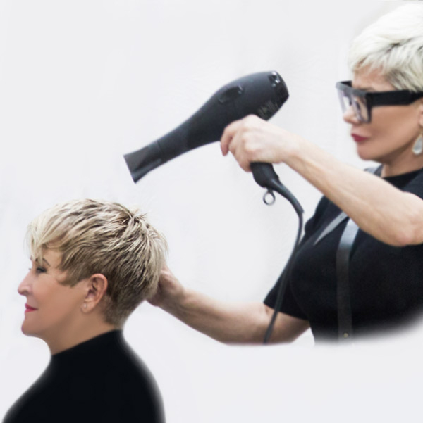 short womans haircut plus highlights near northern dallas cities frisco allen richardson the colony addison blow dry grey cover relaxed enjoyment