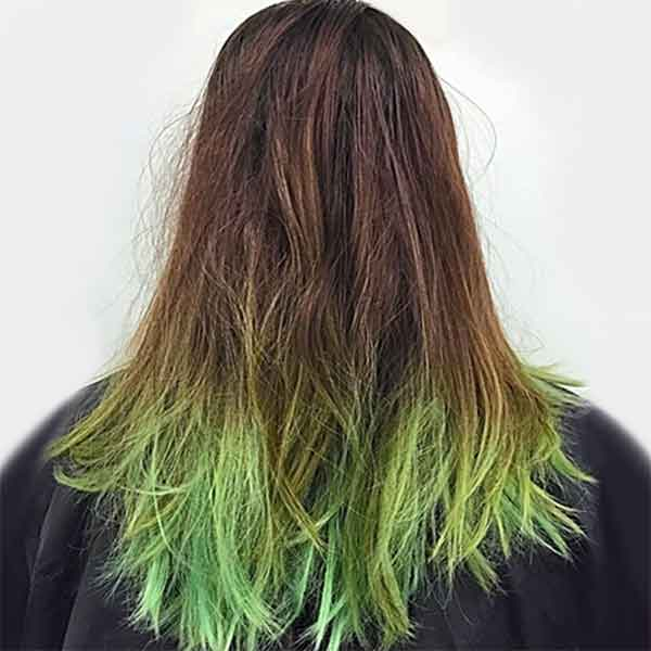 remove lime hair coloring woman's salon