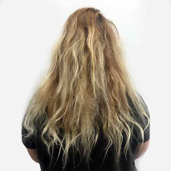 blonde color correction plano womans hairstyling before