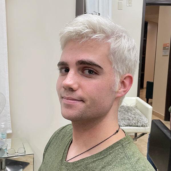 mens haircut and blonde hair coloring treatment best hair salon plano